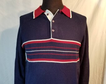 Sale! Mens vintage sweater, thin, knit button up navy large striped