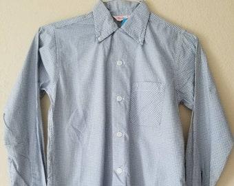 40s boys plaid shirt, 14 blue black white, 14x28
