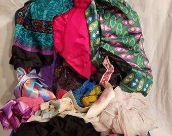 Huge LOT of vintage scarves,  25 pieces, silk and more
