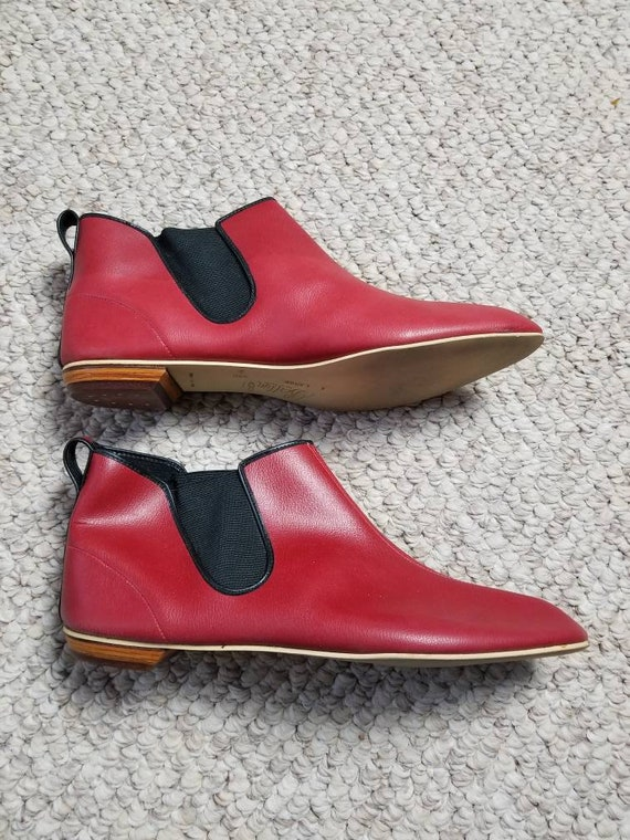 60s pixie ankle boots red XL