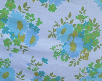 Vintage mid-century twin bed sheet set of 2 aqua floral and white
