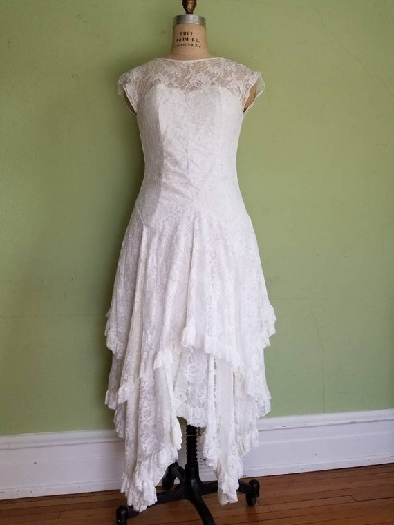 Vintage Lace Wedding Dress Size 78 Off White