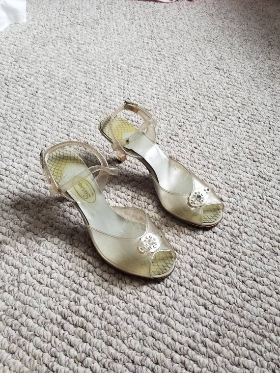1940s heels, clear shoes, size 6 ladies, 30s 40s s