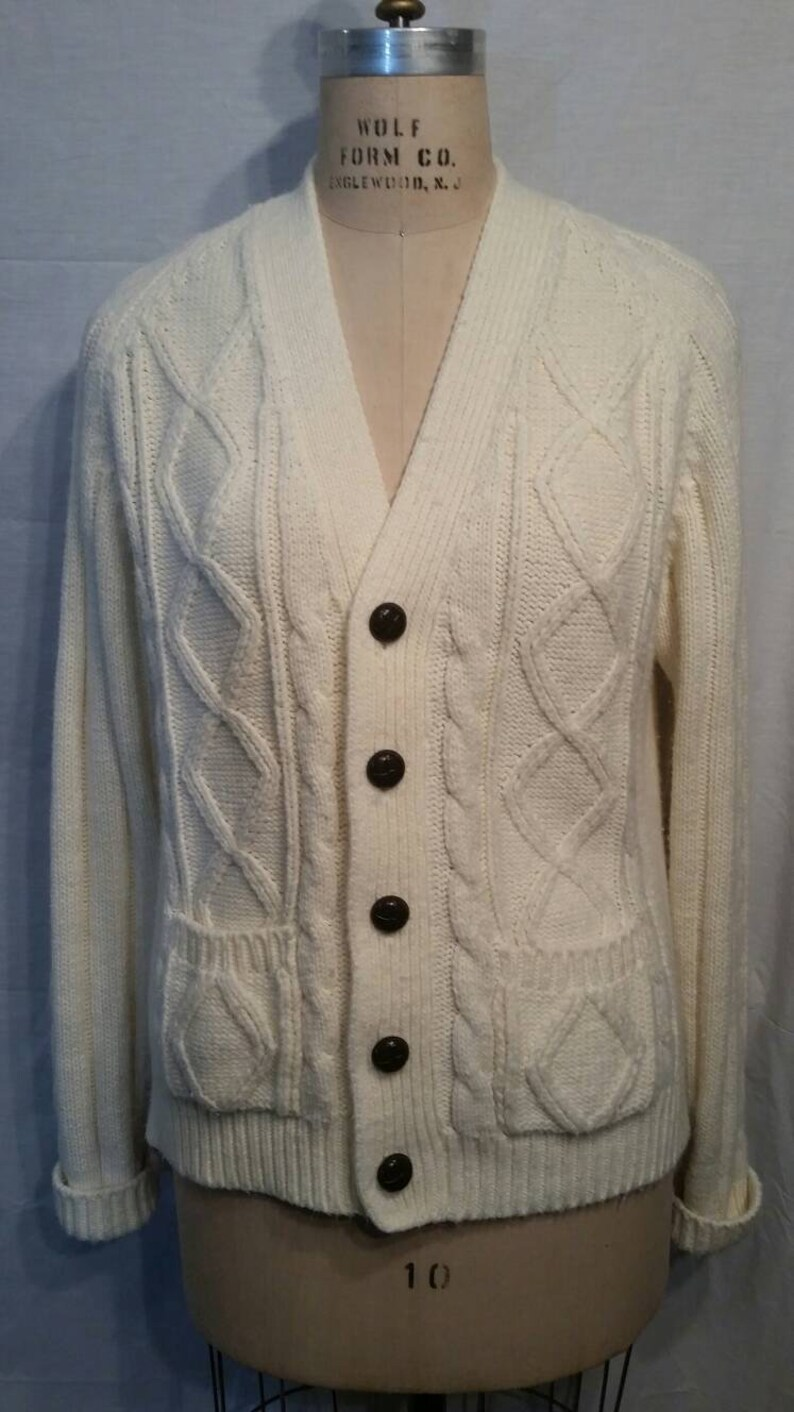 Vintage 70s 80s cardigan sweater 42 large Montgomery Ward cream fisherman sweater Sale