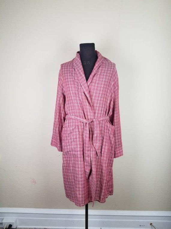 50s robe, mens bathrobe, dusty rose color, medium