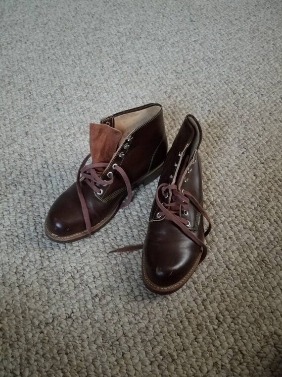 Vintage NOS New brown boots, mens 7 1/2, 7.5 lace