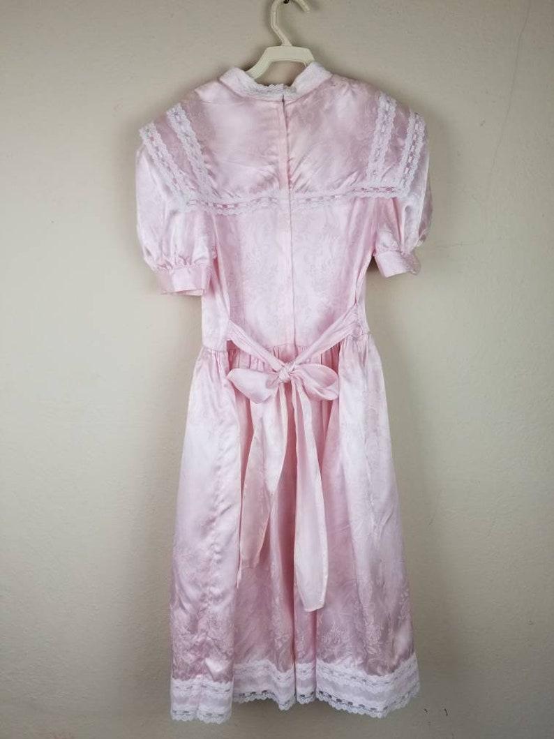 80s girls dress pink satin brocade size 14 Gunne Sax by Jessica McClintock