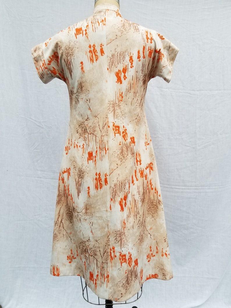 floral handmade 38 mandarin polyester Vintage 70s dress asian style