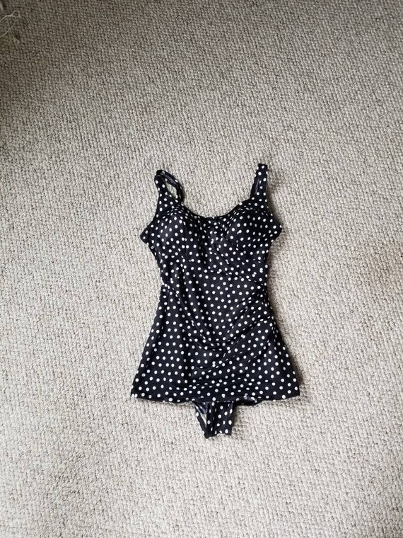 Polkadot bathing suit, ladies 18, 50s-60s, black