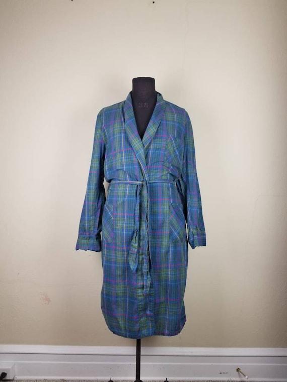 50s robe, mens plaid bathrobe, bath robe, blue pla