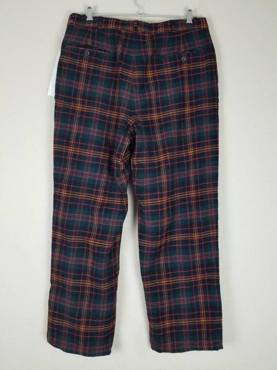 Vintage mens plaid pants, 34x29, wool, green blac… - image 3