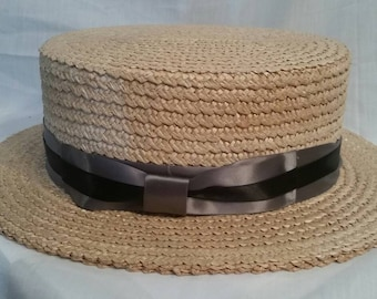 Antique straw boater, made in Venice, Italy, 7 3/8, 59