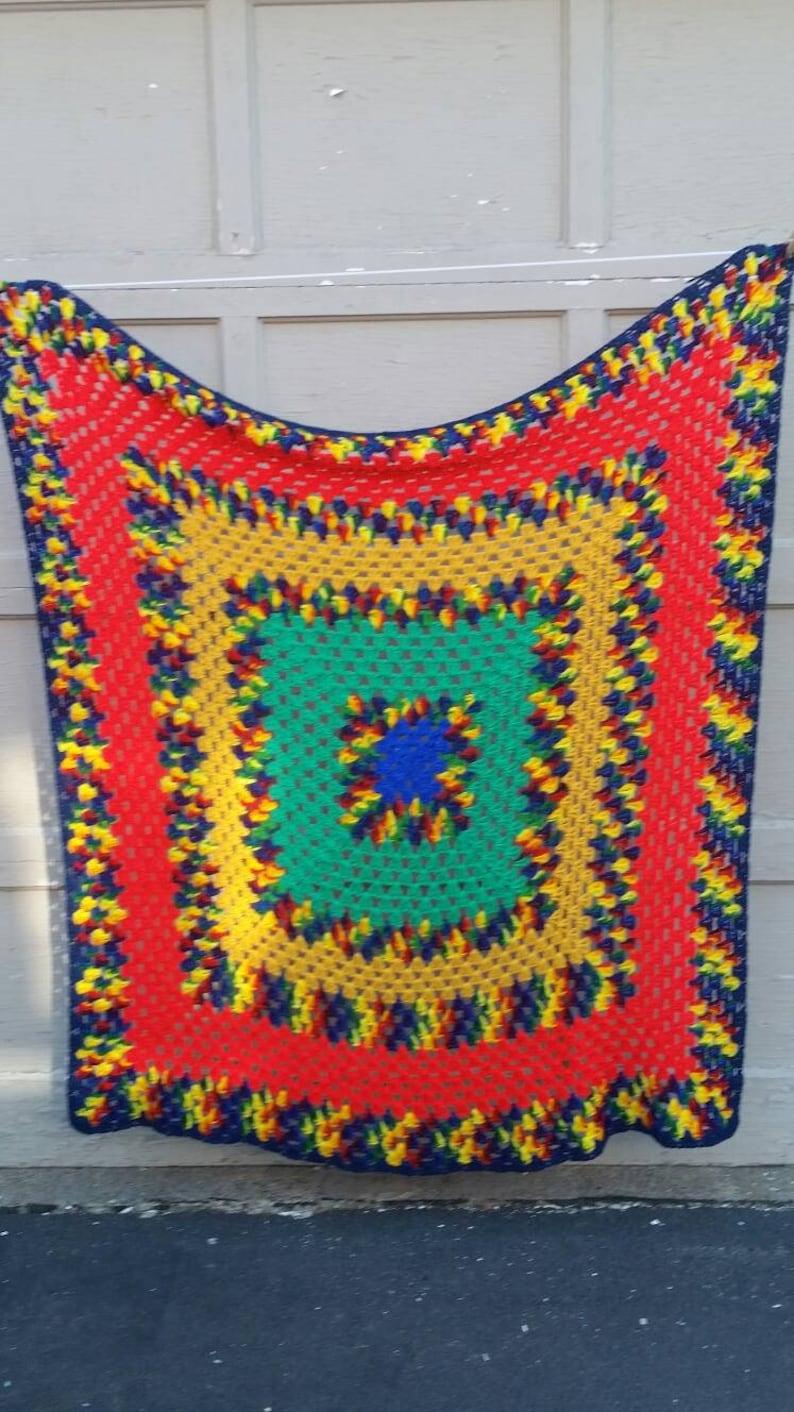 Vintage Rainbow Granny Square quilt 64x64