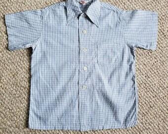 40s vintage boys plaid shirt, Kaynee size 10, 34, white with blue plaid, cotton