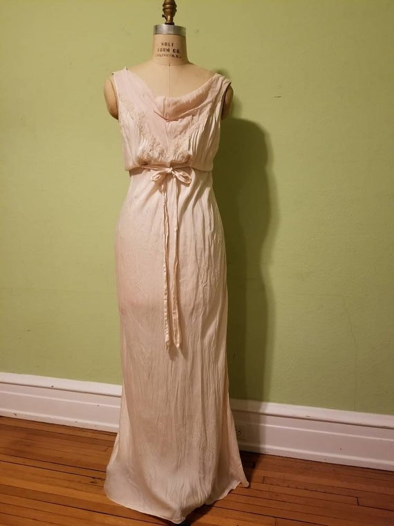 30s slip, vintage, silk, peachy beige color, large