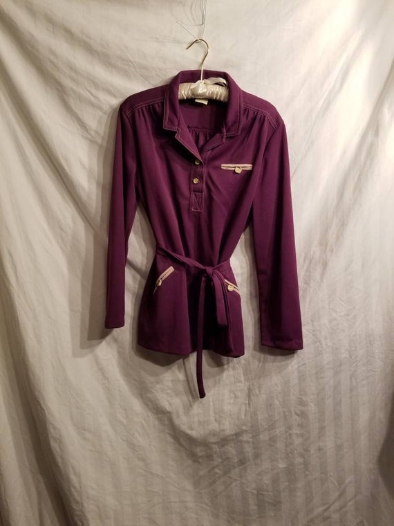 Perfectly purple 70s polyester pant suit,  16