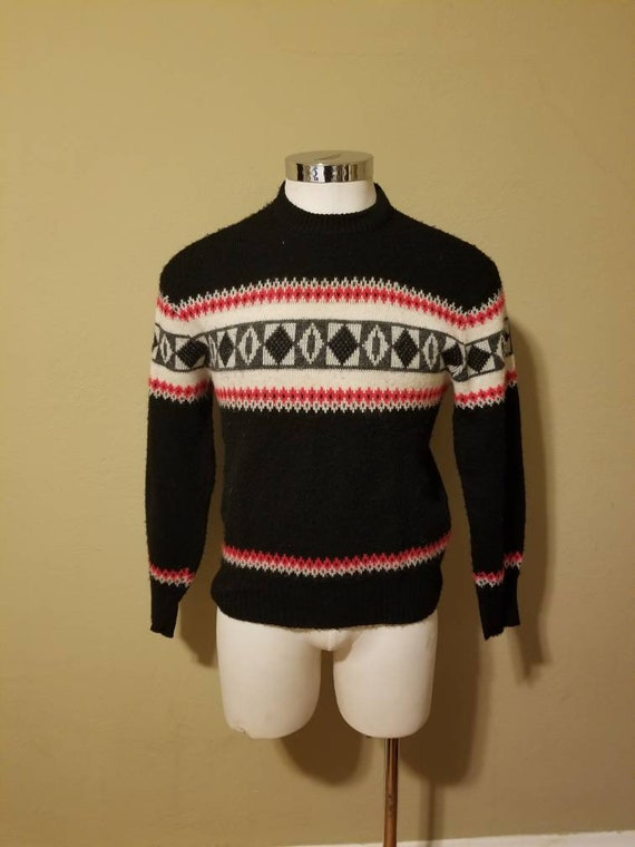 40s ski sweater, mens 42, acrylic