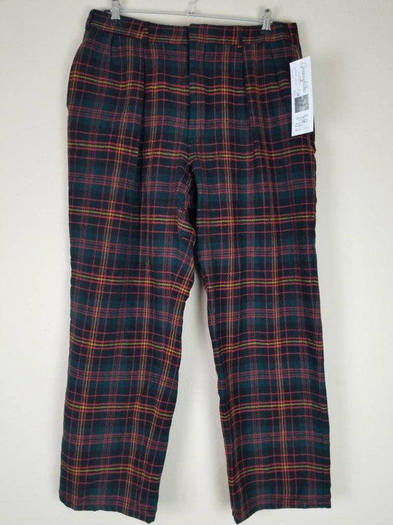 Vintage mens plaid pants, 34x29, wool, green blac… - image 2