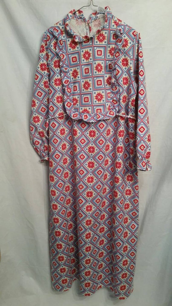 PAIR! Matching set of flannel vintage nightgowns,… - image 2