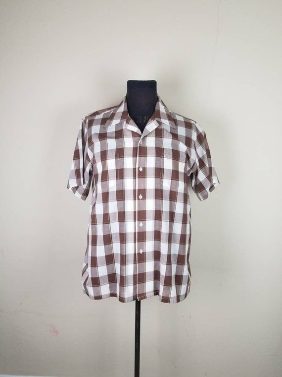 50s shirt, mens large, brown plaid, cotton poly, J
