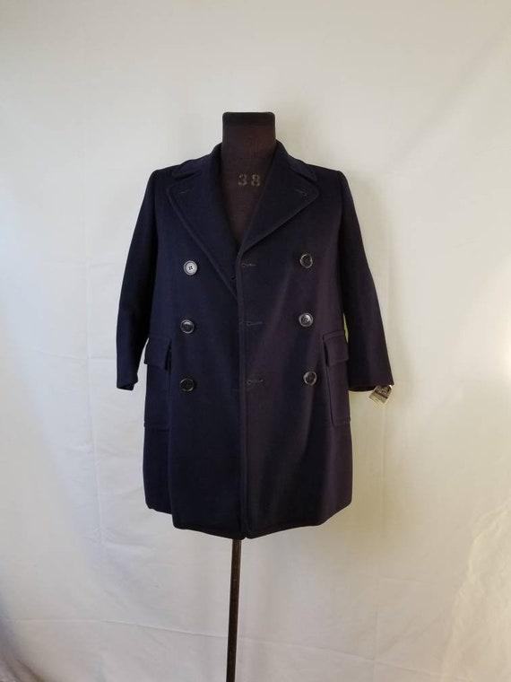 40s-50s boys vintage navy blue overcoat, SFA, Saks
