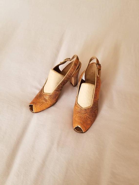 30s-40s heels, sandals, peep toe pumps, snakeskin,