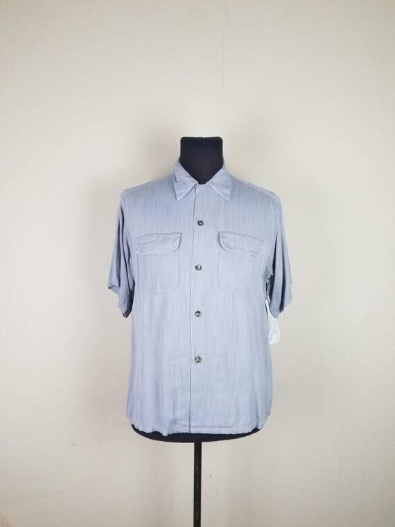 40s-50s work shirt, mens large, grey, gray, faint