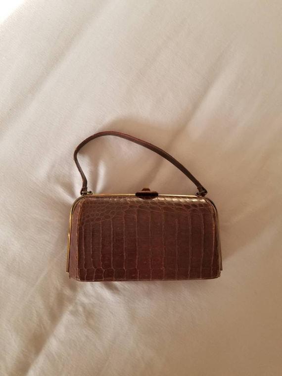 30s 40s brown handbag, alligator skin, top handle