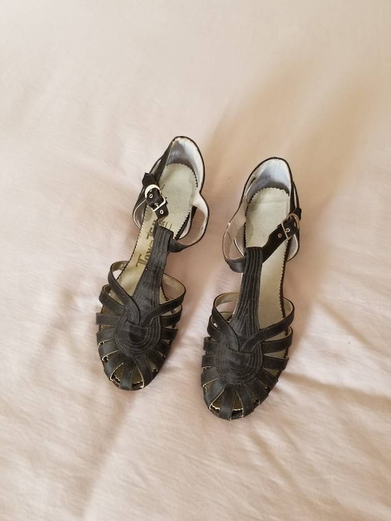 NEW 30s heels, black satin, sandals,  small 5 or 6