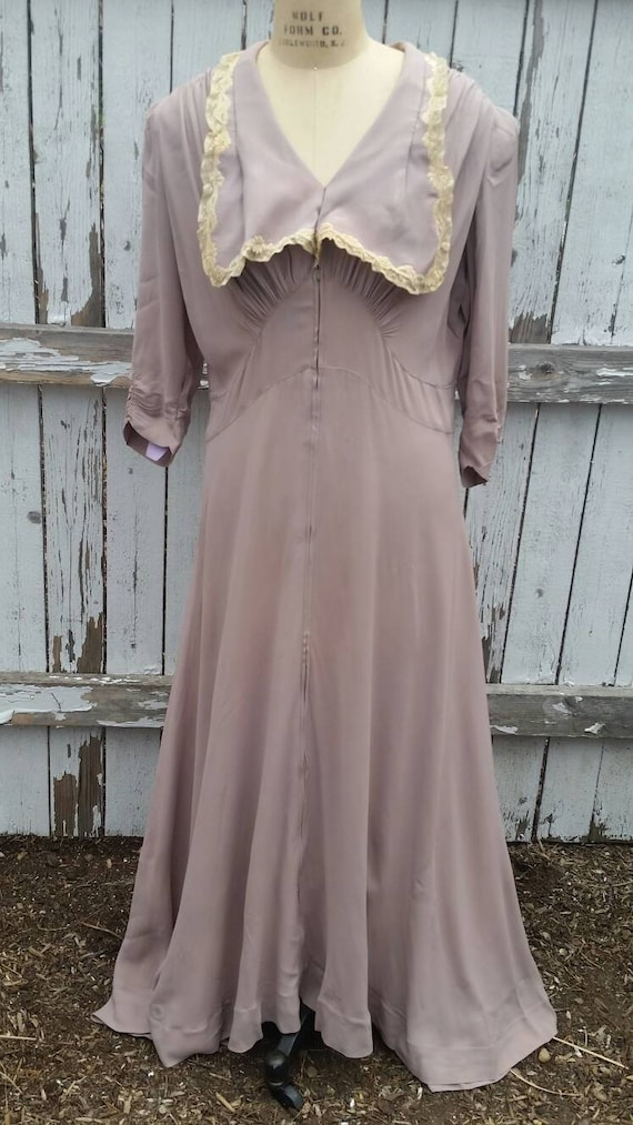 Grand 1940s hostess gown, lavender, xl, 44 bust, w