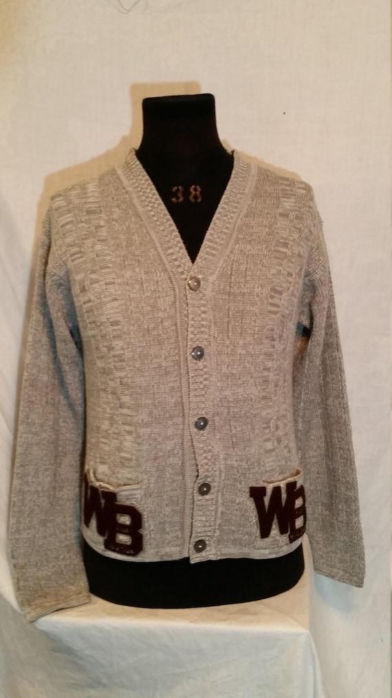 """Vintage acrylic Varsity Sweater, WB cardigan 42"""""""