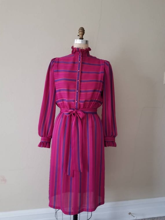 70s dress, vintage, Act I, size 9-10, polyester,