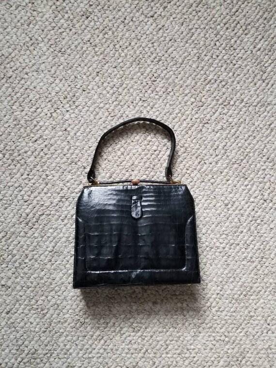 40s alligator handbag, black, top handle, purse