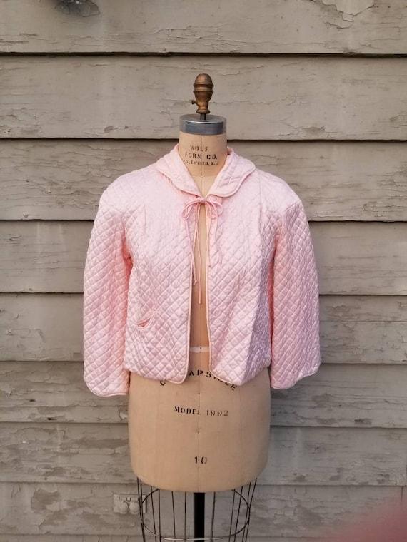 40s-50s bed jacket, quilted pink satin, Barbizon,