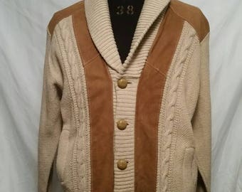 1940s vintage mens cardigan sweater, tan with leather suede trim, 42/44