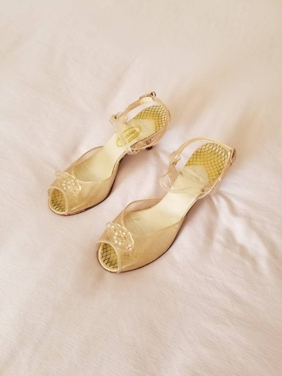 30s-40s clear heels, strappy, sandals, high heels,