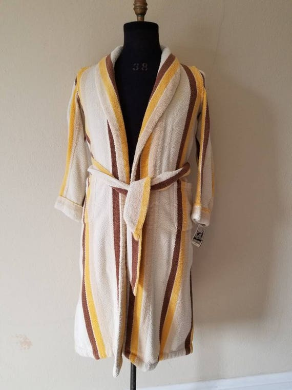 50s teen boys terry cloth vintage striped bathrobe