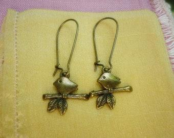 Bird on a Twig Bronze Earrings,Sweet Bird dangle Earrings
