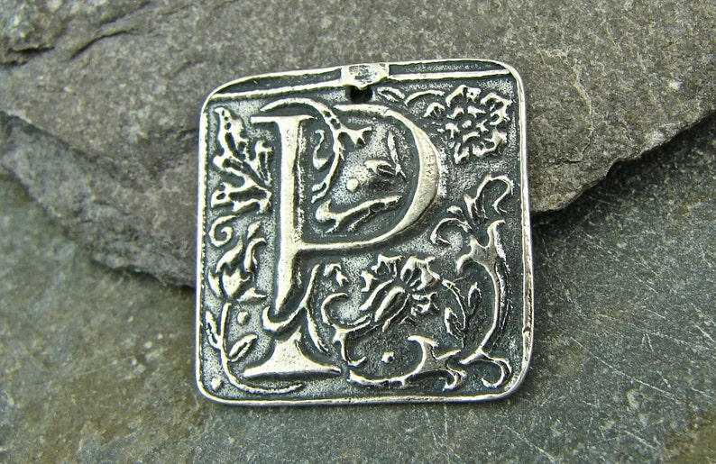 Letter P Fob Charms Sterling Silver Plated 4 pcs