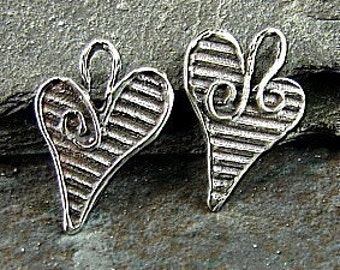 Sterling Silver Heart Charms - Opposites Attract - Reversable Artisan Sterling Heart Charms - One Pair - Two Pieces - HRT9