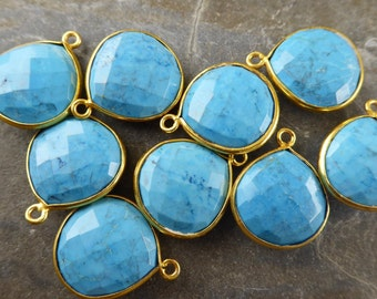 Vivid Blue Turquoise  & 24K Gold Vermeil Teardrop - One Piece