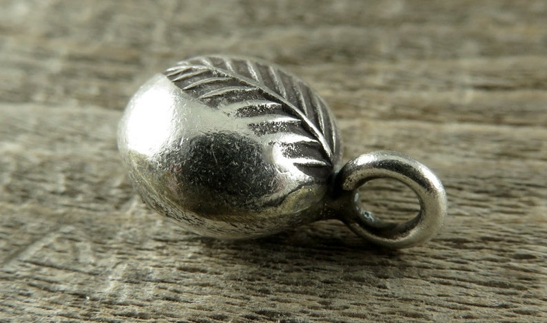 TLF-11 Hill Tribe Fine Silver Leaf Charm Jewelry Making Supplies Artisan Findings One Piece Jewelry Findings Thai Silver Findings