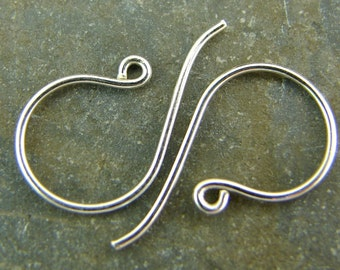 Sterling Silver French Hook Ear Wires - Jewelry Supplies - Earwires - Earring Findings - Findings- Jewelry Findings - One Pair - ews