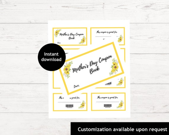 Printable Mother's Day Coupon Book  Sunflower Coupon Book