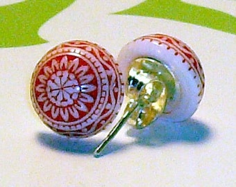 Red Glass Post Earrings, LAST PAIR