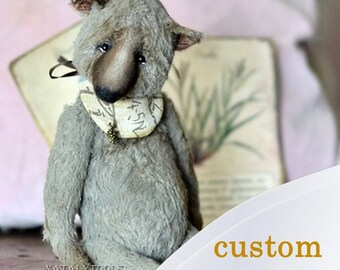 Teddy bear Lester artist toy by NatalyTools bears, viscose sawdust wool wood, animal nose vintage style, classic  OOAK teddy bear