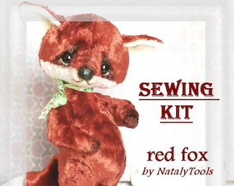 Sewing Kit Fox Pattern Artist, Fabric set, Vintage soviet plush fox with sawdust by NatalyTools, how to make stuffed toy, red ginger fox toy