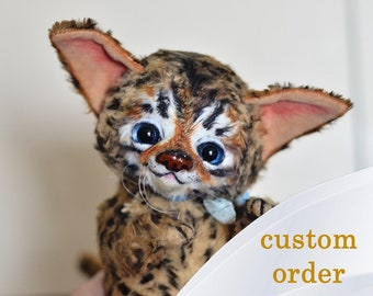 Bengal kitten stuffed toy OOAK doll by Artist NatalyTools, brown cat with points, blue eyes, pet portrait, teddy creation, soft sculpture