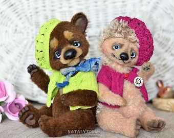Teddy bear and Hedgehog toy, friends, Wedding Gift, Brown Bear Cub toy, Stuffed plush Hedgehog Toy, Gift for girl who has everything, pair