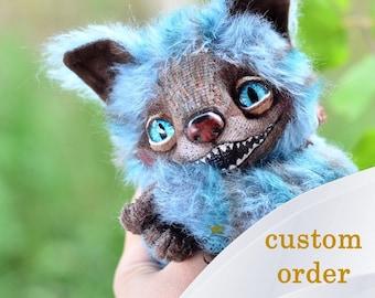 Cheshire cat, Alice in Wonderland, stuffed blue mohair toy, Wood key, Smiling cat, Cheshire cat creation, Cheshire figurine, cheshire doll